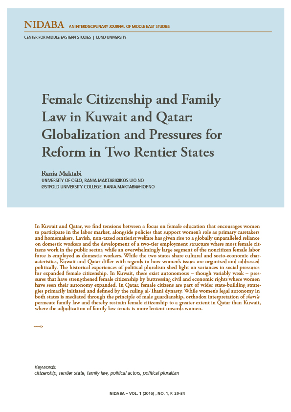 Female Citizenship and Family Law in Kuwait and Qatar: Globalization and Pressures for Reform in Two Rentier States