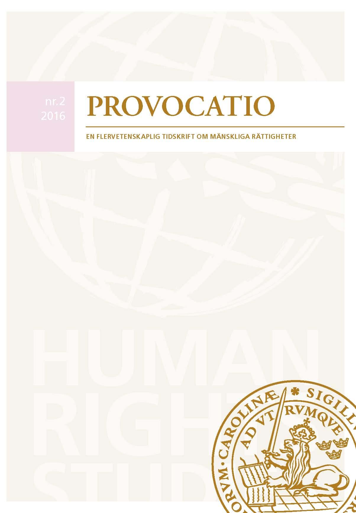 View No. 2 (2016): Provocatio. En flervetenskaplig tidskrift om mänskliga rättigheter