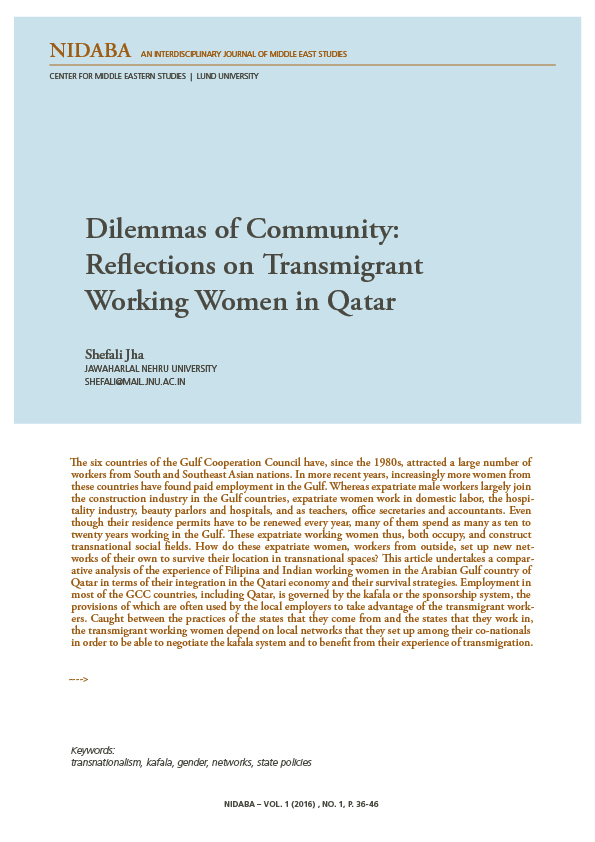 Dilemmas of Community: Reflections on Transmigrant  Working Women in Qatar