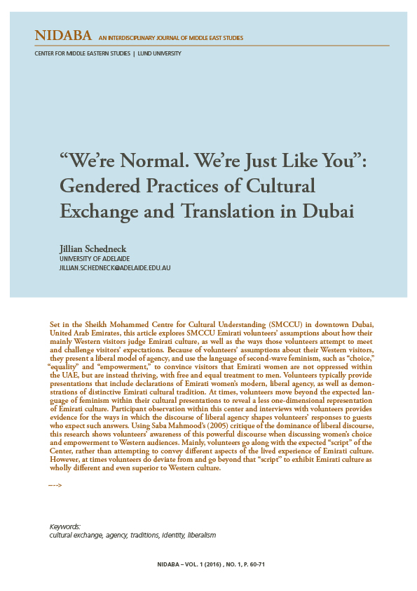 """We're Normal. We're Just Like You"": Gendered Practices of Cultural Exchange and Translation in Dubai"