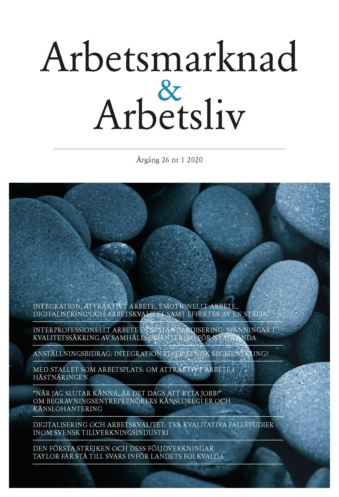 Visa Vol 26 Nr 1 (2020): Arbetsmarknad & Arbetsliv