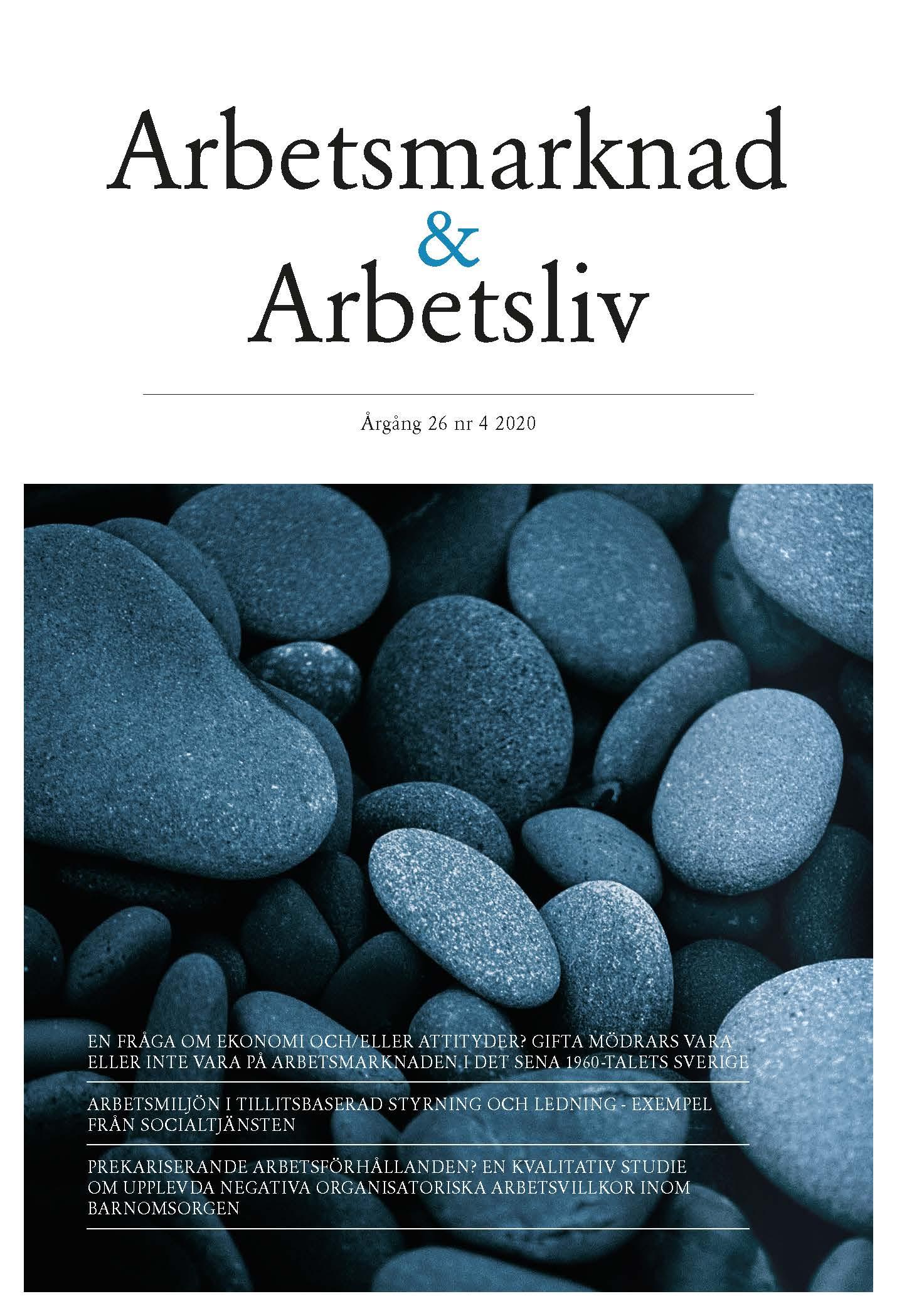 Visa Vol 26 Nr 4 (2020): Arbetsmarknad & Arbetsliv