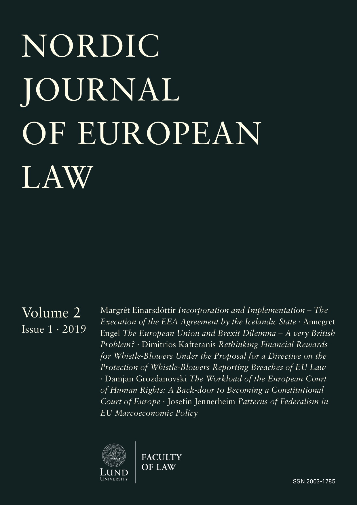 Nordic Journal of European Law 2019(1)