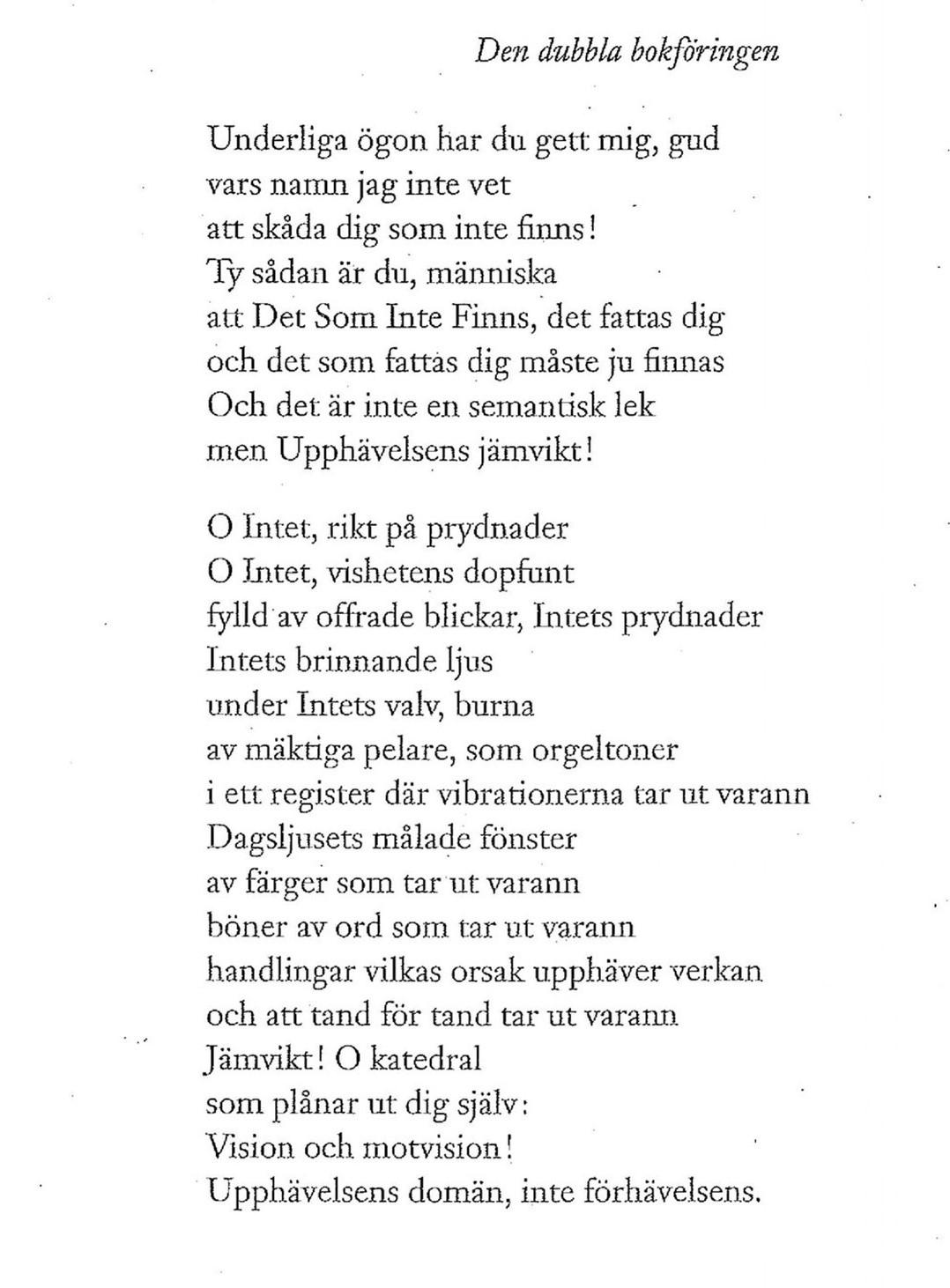 """Bild på dikten """"Den dubbla bokföringen""""."""